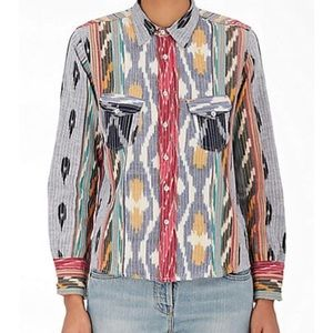 Warm Ripple Embroidered Cotton Shirt Multi Colored